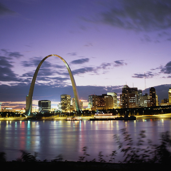 1962-1968, St. Louis, Missouri, USA --- St. Louis at Sunset --- Image by © Royalty-Free/Corbis